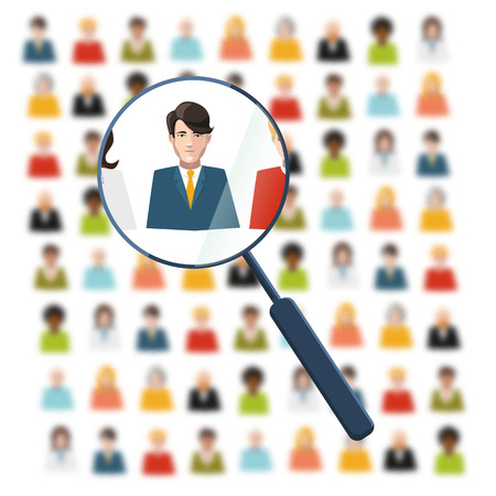 Illustration pour HR looking for worker in crowd - image libre de droit