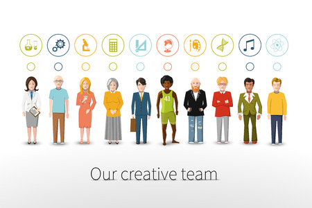 Ilustración de Our creative team of ten people with occupations icons - Imagen libre de derechos