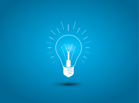 Illustration pour Light bulb, idea icon on blue background illustration - image libre de droit