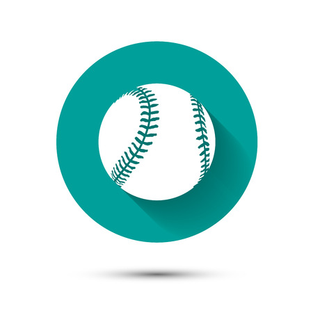 Illustration pour Baseball icon on green background with shadow - image libre de droit