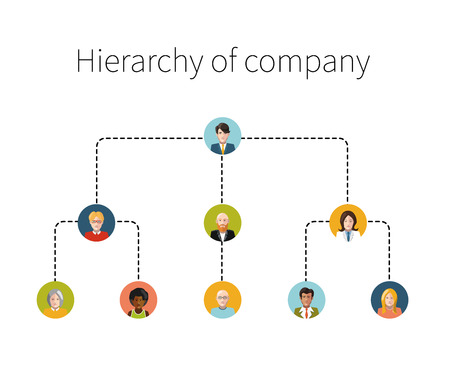 Foto per Hierarchy of company flat illustration isolated - Immagine Royalty Free