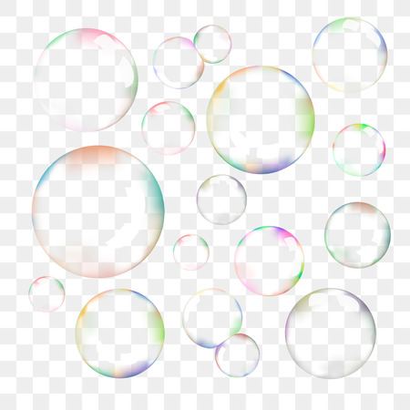 Illustration for Set of transparent soap bubbles - Royalty Free Image