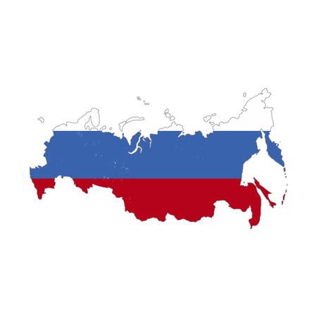 Illustration pour Russia country silhouette with flag on background, isolated on white - image libre de droit