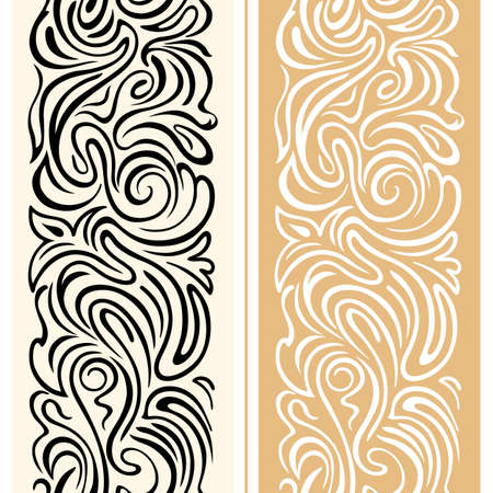 Illustration pour Vector seamless border with swirls and floral motifs in retro style. elegant festive geometric ornament with smooth lines. Decoration for packaging, advertising, Christmas cards, congratulations on Valentine's Day and fabrics - image libre de droit