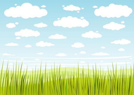 Illustration pour grass sky and clouds background - image libre de droit