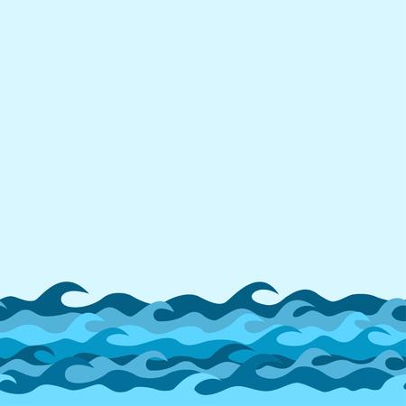 Illustration pour seamless decorative border from sea waves - image libre de droit