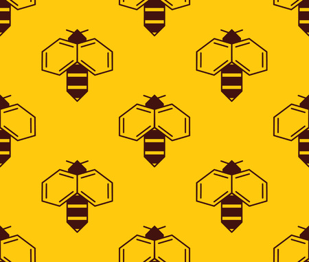 Illustration for Vector seamless pattern of bee logo on honey background. Simple bee logotype - Royalty Free Image
