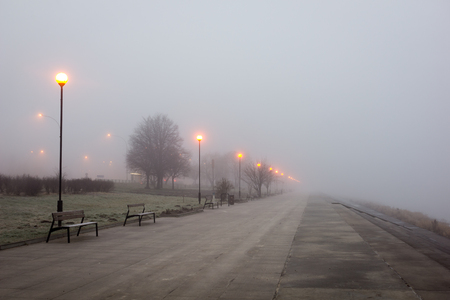 Photo for Boulevard on the Vistula river at foggy morning in Warsaw, Poland - Royalty Free Image
