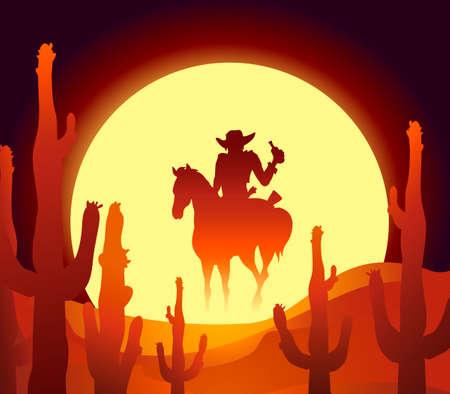 Illustration pour illustration of rider in mexican desert at the sundown hour  - image libre de droit