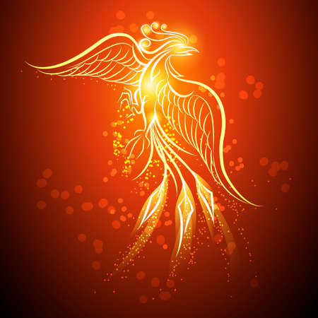 Illustration pour Illustration of rising Phoenix against red dark background as symbol of rebirth - image libre de droit