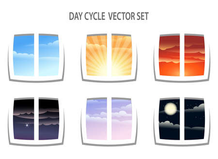 Illustration pour Set of six  colorful day cycle images. Different times of the day from window view. Isolated on white background. - image libre de droit