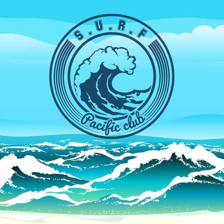 Ilustración de Surf club logo or emblem against stormy tropical seascape. Only free font used. - Imagen libre de derechos