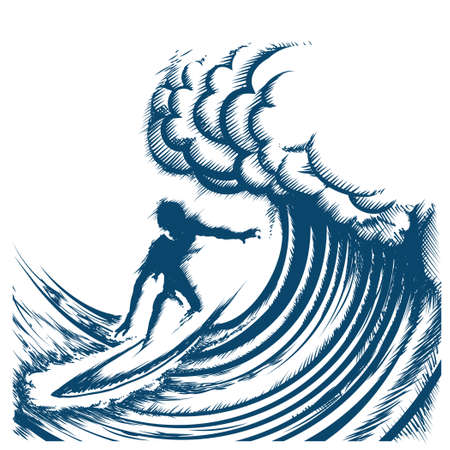 Illustration pour Surfer riding big wave drawn in retro engraving style. Isolated on white Background - image libre de droit