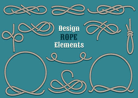 Illustration pour Set of Rope Design elements. Drawn in vintage style. Knots and Loops. Only free font used. - image libre de droit