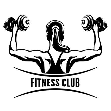 Illustration pour Fitness Club emblem with training muscled woman.  - image libre de droit