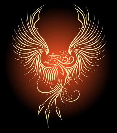 Illustration pour Illustration of flying Phoenix Bird as symbol of revival. - image libre de droit
