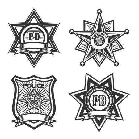 Illustration for Police badges set. Monochrome isolated on white background. Only free font used. - Royalty Free Image