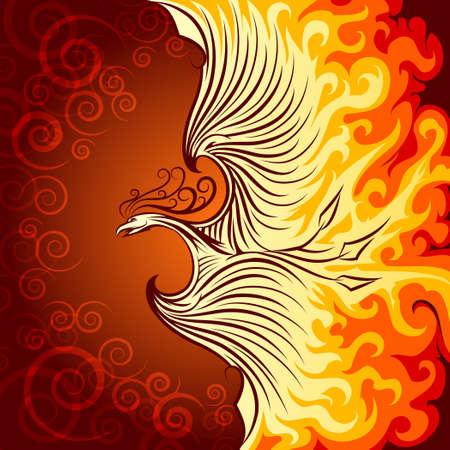 Ilustración de Decorative illustration of flying phoenix bird. Phoenix in burning flame. - Imagen libre de derechos