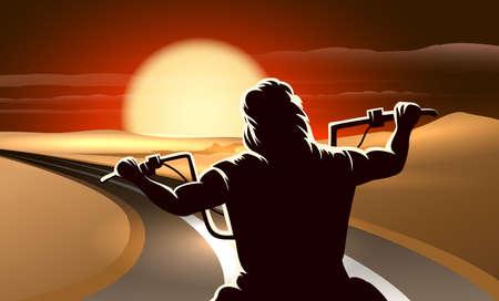 Illustration pour Biker riding motorcycle through a desert in the twilight. - image libre de droit