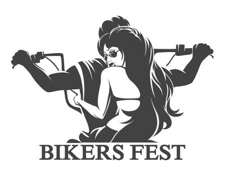 Illustration pour Emblem or label of Bikers Festival. Young Man and woman ride a motorcycle. Only free font used. Isolated on white background. - image libre de droit