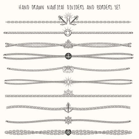 Ilustración de Set of nautical ropes and chains decor elements. Hand drawn dividers and borders. Only free font used. - Imagen libre de derechos
