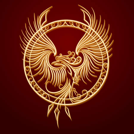 Illustration pour Phoenix Bird with rising wings in a circle. Ancient symbol of revival. - image libre de droit