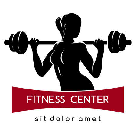 Ilustración de Fitness center or Gym emblem. Elegant woman silhouette with barbell. Fitness exercises concept. Free font used. Isolated on white. - Imagen libre de derechos