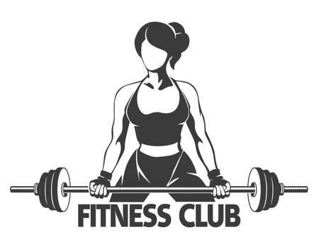 Ilustración de Fitness or Gym center emblem. Athletic woman silhouette with barbell. Power lifting exercises concept. Free font used. Isolated on white. - Imagen libre de derechos