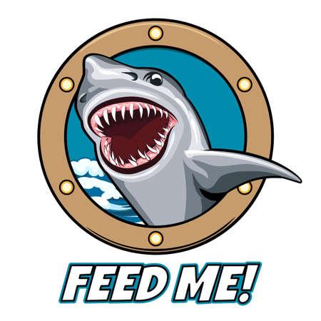 Ilustración de Emblem of Shark head with open mouth in ship window and wording Feed Me. Cartoon style. Free font used. - Imagen libre de derechos