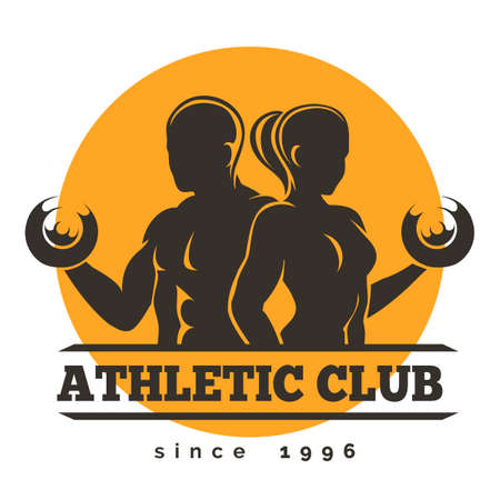 Ilustración de Sport, Gym or Athletic Club Emblem. Woman and Man holds dumbbells. Free font used. Isolated on white. - Imagen libre de derechos