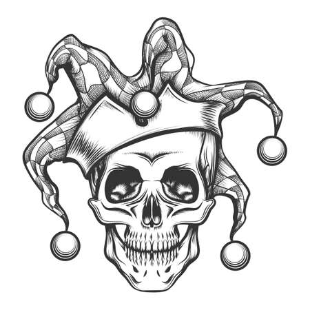 Ilustración de Hand drawn jester skull in fools cap. Vector illustration in engraving tattoo style. - Imagen libre de derechos