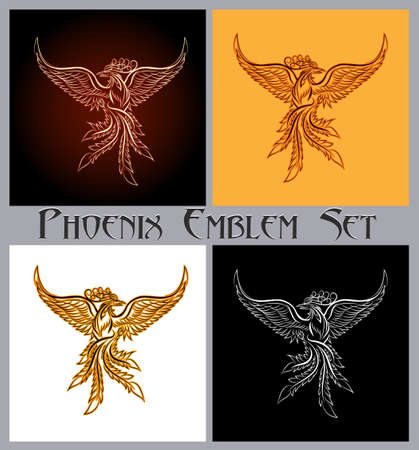 Illustration for Set of phoenix bird emblem. Design elements for prints, badges, labels and stickers. Vector illustration. - Royalty Free Image
