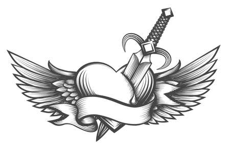Ilustración de Heart with wings pierced by dagger and ribbon with place for your text. Vector illustration in tattoo style. - Imagen libre de derechos