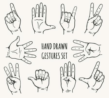 Illustration pour Set of man hand gesture drawn in retro style. Vector illustration. - image libre de droit