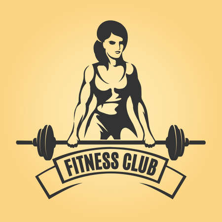 Ilustración de Bodybuilding or Fitness Retro emblem. Athletic Woman Holding Barbell. Vector illustration - Imagen libre de derechos