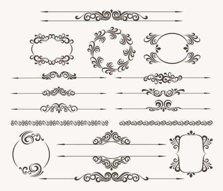 Illustration pour Set of calligraphic design elements for page decor. Filigree floral vector collection - image libre de droit