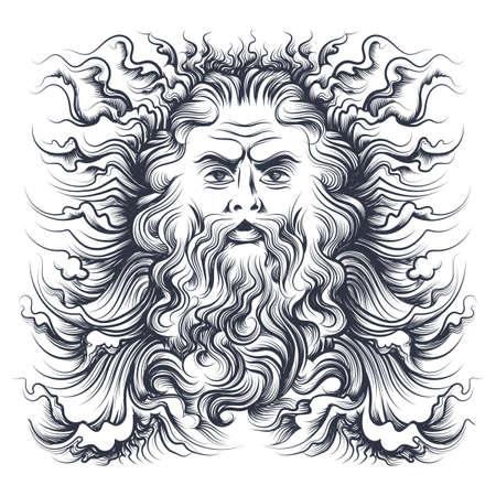 Illustration pour Roman sea god Neptune head. Mythology character drawn in engraving style. Vector illustration. - image libre de droit