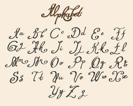 Illustration pour Handwritten calligraphy font drawn in ink style. Vector illustration - image libre de droit