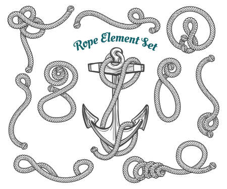 Illustration for set of hand drawn ropes corners and loops. Vector rope design elements. - Royalty Free Image