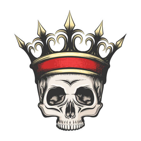 Illustration for Hand drawn human skull in golden crown in tattoo style. Vector illustration - Royalty Free Image