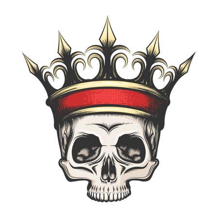 Ilustración de Hand drawn human skull in golden crown in tattoo style. Vector illustration - Imagen libre de derechos