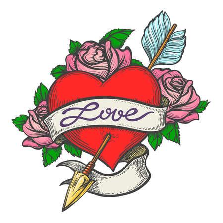 Ilustración de Heart Pierced by arrow with ribbon and handmade lettering Love drawn in tattoo style. Vector illustration - Imagen libre de derechos