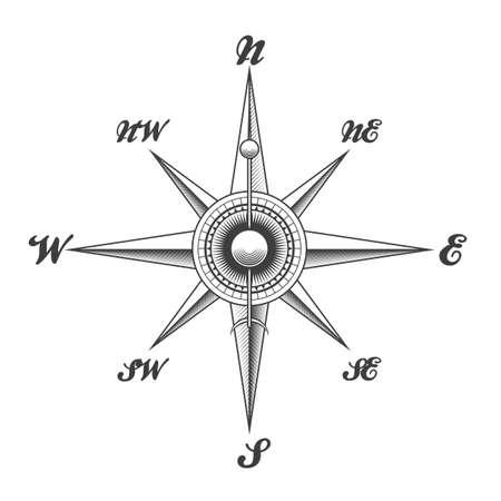 Ilustración de Wind rose navigation compass drawn in engraving style isolated on white background. Vector illustration. - Imagen libre de derechos
