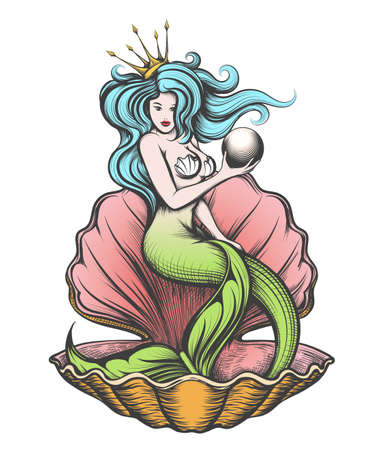 Ilustración de Long-haired mermaid in an open pearl shell holds a pearl in her hand. - Imagen libre de derechos