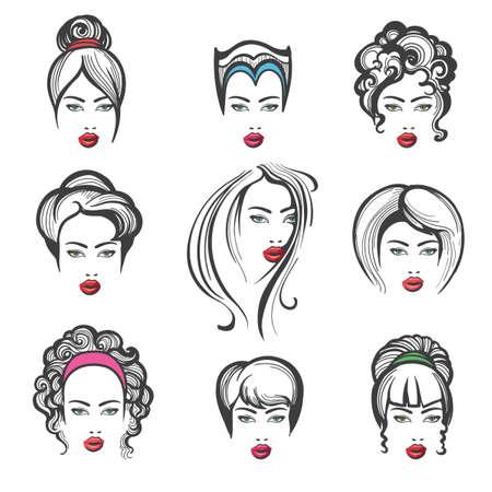 Ilustración de Hand drawn collection of stylish fashionable hairstyles for woman. Vector illustration - Imagen libre de derechos