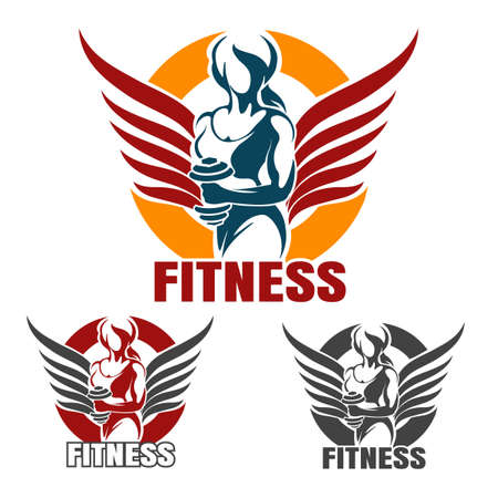 Ilustración de Bodybuilder Gym or Fitness emblem set. Winged Athletic Woman Holds dumbbell in various color variation isolated on white. Vector illustration. - Imagen libre de derechos