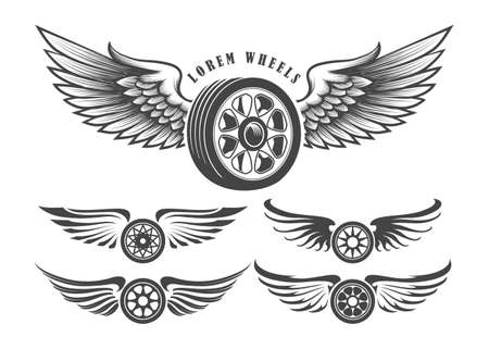 Illustration pour Set of wheels with wings for tattoo or label design isolated on white. Vector illustration. - image libre de droit
