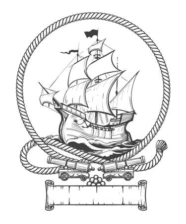 Illustration pour Sailing ship in rope frame with ship cannons drawn in engraving style. Vector illustration. - image libre de droit