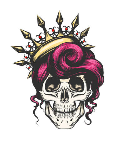 Illustration for Female skull with a crown and long hair. Queen of death drawn in tattoo style. Vector illustration. - Royalty Free Image
