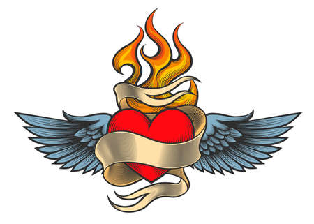 Illustration for Flaming heart with wings and ribbon drawn in retro tattoo style. - Royalty Free Image
